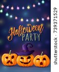 halloween background  pumpkin.... | Shutterstock .eps vector #739371529