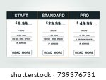 price list  hosting plans and... | Shutterstock .eps vector #739376731