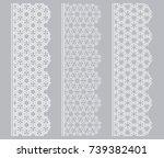 vector set of line borders with ... | Shutterstock .eps vector #739382401