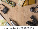 overhead view of travel... | Shutterstock . vector #739385719