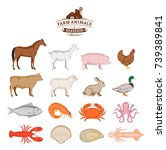 vector farm animals and seafood ... | Shutterstock .eps vector #739389841