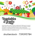 vector fruits and vegetables... | Shutterstock .eps vector #739395784