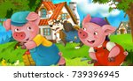 cartoon scene pig farmer near... | Shutterstock . vector #739396945