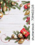 christmas decoration on white... | Shutterstock . vector #739402135