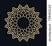 golden round ornament  frame ... | Shutterstock .eps vector #739403119