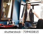 male hairstylist in barbershop. ...   Shutterstock . vector #739403815