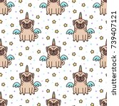 cute seamless pattern with dog... | Shutterstock .eps vector #739407121