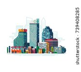 cool vector abstract cityscape... | Shutterstock .eps vector #739408285