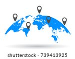 blue world map with location  ... | Shutterstock .eps vector #739413925