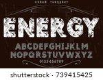 vintage font typeface alphabet...   Shutterstock .eps vector #739415425