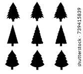 set of christmas trees.vector | Shutterstock .eps vector #739415839