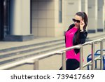 young girl with glasses   urban ... | Shutterstock . vector #739417669
