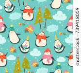 seamless pattern with cute... | Shutterstock .eps vector #739418059