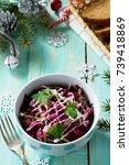 homemade appetizer on a festive ...   Shutterstock . vector #739418869