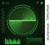 green radar screen.screen with...   Shutterstock .eps vector #739419535