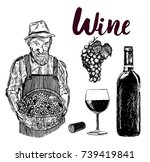 set of wine bottle and...   Shutterstock .eps vector #739419841