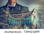 double exprosure  businessman...   Shutterstock . vector #739421899