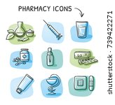 set of different medical icons  ... | Shutterstock .eps vector #739422271