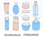 hand drawn body care  cosmetic  ... | Shutterstock .eps vector #739424965