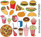 fast food elements set ... | Shutterstock .eps vector #739425085