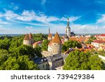 aerial view of tallinn old town ... | Shutterstock . vector #739429384