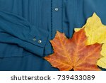 maple leaves on a blue blouse.... | Shutterstock . vector #739433089