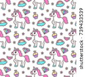 cute seamless pattern with... | Shutterstock .eps vector #739433539
