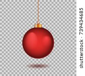 Red Christmas Ball. New Year...