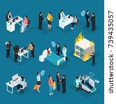 isometric people and insurance... | Shutterstock .eps vector #739435057