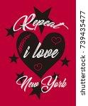 i love new york t shirt print... | Shutterstock .eps vector #739435477