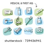 set of different medical icons... | Shutterstock .eps vector #739436941