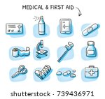 set of different medical icons... | Shutterstock .eps vector #739436971