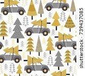 seamless pattern gold christmas ... | Shutterstock .eps vector #739437085