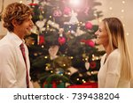 happy beautiful young people... | Shutterstock . vector #739438204