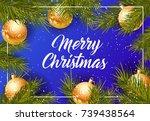 merry christmas lettering | Shutterstock .eps vector #739438564