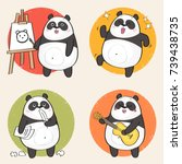 cartoon panda bear character.... | Shutterstock .eps vector #739438735