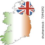 map and flag of ireland | Shutterstock . vector #7394392