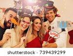 group of friends having fun... | Shutterstock . vector #739439299
