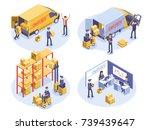 fast delivery concept. van  man ... | Shutterstock .eps vector #739439647