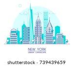new york city line vector... | Shutterstock .eps vector #739439659