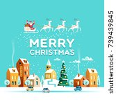 urban winter landscape. snowy...   Shutterstock .eps vector #739439845