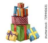 watercolor christmas presents.... | Shutterstock . vector #739440631