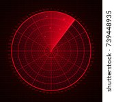 red radar screen.screen with...   Shutterstock .eps vector #739448935