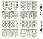 set of black seamless borders ... | Shutterstock .eps vector #739454809