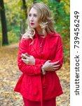portrait of beautiful blonde... | Shutterstock . vector #739456249