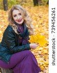 portrait of beautiful blonde... | Shutterstock . vector #739456261