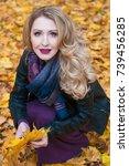 portrait of beautiful blonde... | Shutterstock . vector #739456285