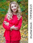portrait of beautiful blonde... | Shutterstock . vector #739456315