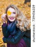 portrait of beautiful blonde... | Shutterstock . vector #739456339