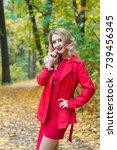 portrait of beautiful blonde... | Shutterstock . vector #739456345